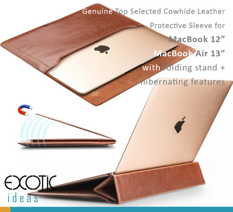 "Genuine Leather Sleeve Bags for MacBook 12"", MacBook Air 13""-with Stand and Hibernating Features"