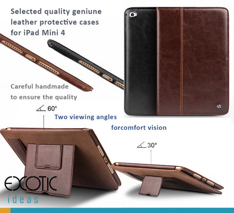 Quality genuine leather protective cases for iPad Mini 4 with 2 stands design for better angle views