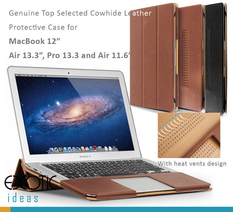 "Genuine Leather Protective Cases for MacBook 12"", MacBook Air Pro 13.3"", Air 11.6""-with Heat Vents"
