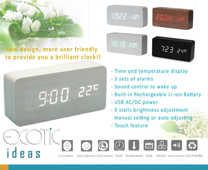Rechargeable Wooden LED Display Clock,3 Alarms,Time,Date,Sound Control-9 stalls brightness adjust.