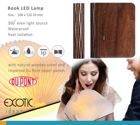 Book LED Lamp with natural wooden cover and imported Du Pont paper panels,Waterproof,Heat Isolation, Special Design for Full protection - Size :  168 x 120 x 24 mm