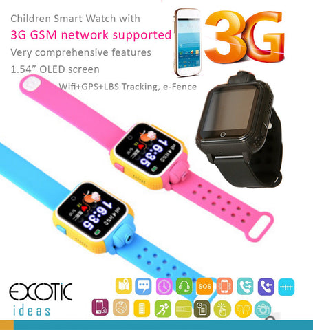 Children Smart Watch OLED touch 3G GSM Phone, Wifi+GPS+LBS Tracking e-Fence, Camera, Anti-lost