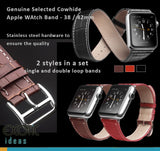 Genuine Cowhide Leather Apple Watch Band - 38 / 42mm, 2 Styles in a Set - Single and Double Loop