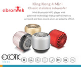 Abramtek King Kong 4 Mini - Bluetooth 4.0 MP3 Player Stainless Steel Speaker with surround sound, sub-woofer effect.