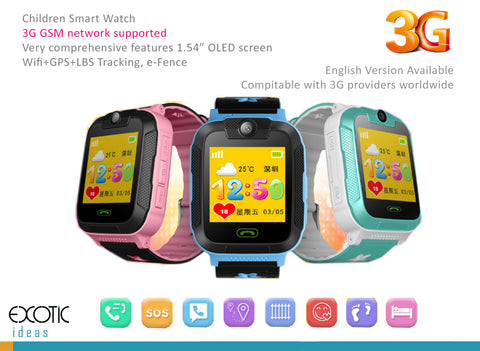 "Children Smart Watch 3G GSM Phone, Wifi+GPS+LBS Tracking e-Fence, Camera, Anti-lost, 1.54"" touch screen"