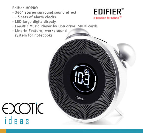 Edifier MOPRO - 360° Stereo Speaker, FM, 5 sets of Smart Alarms. Big Digits LED display, FM/MP3 Music Player