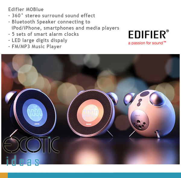 Edifier MOBlue - 360°Bluetooth Speaker for iPhones, Smartphones, FM, 5 sets  of Smart Alarms, Big Digits LED Display, FM/MP3 Music Player   Big Digits
