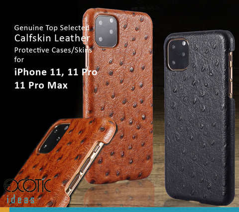 Ostrich Skin Texture Genuine Selected Cowhide Leather Protective Cases Exclusive Design for iPhone 11, 11 Pro and Pro Max, Free Gift -Tempered Glass Film
