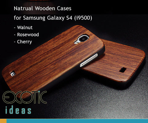 Handmade Wooden Cases Skin for Samsung Galaxy S4 i9500, Walnut, Rosewood, Cherry, Bamboo