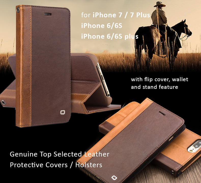 Genuine Cowhide Leather Covers for iPhone 6/6S, 6/6S Plus, iPhone 7, 7 Plus,  with flip cover-Cowboy Series
