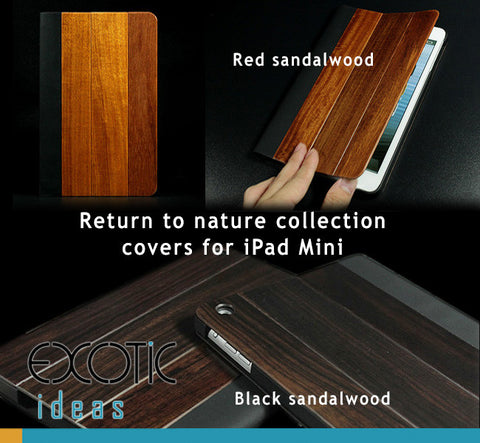 Nature Wood - Black Sandalwood and Red Sandalwood covers for iPad Mini. Mini Retina, Mini 3