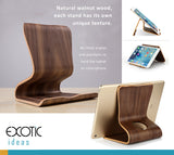 Natural walnut, maple wood holder stand for iPad, iPhone, tablets and smartphones, each stand has its own unique texture.