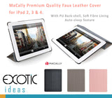 MaCally Smart Covers for iPad 2, 3 & 4. Quality Faux Leather Cover with PU Back-shell, Soft Fiber Lining