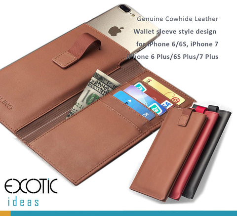 Genuine Cowhide Leather Wallet Sleeve Style Design for iPhone 7,6/6S,iPhone 7 Plus,6/6S Plus.