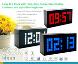 Large LED Clock with Time, Date, Temperature Luminous Display. Alarm Snooze, Adjustable Brightness