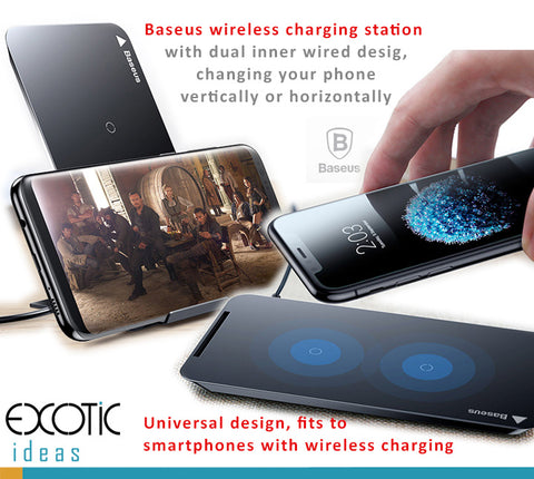 iPhone 8/8 Plus, Samsung phones wireless charging station with dual wired design, changing your phone vertically or horizontally with stand feature. Universal wireless charging station.