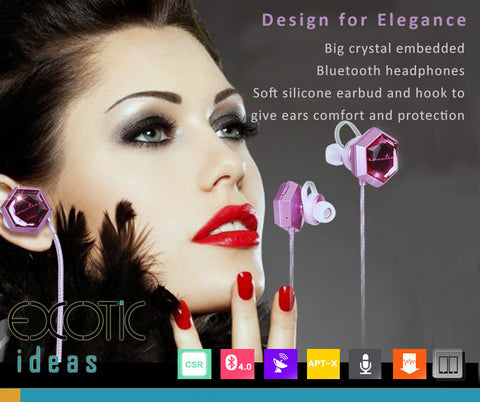 Big crystal embedded dual pairing Bluetooth HD sound headset with soft silicone earbud and hook