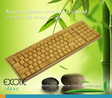 Pure Natural Bamboo Wireless 109 Keys Keyboard with Nano USB Wireless Receiver