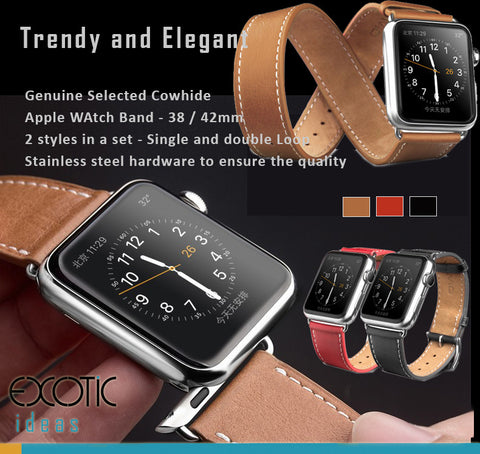 Genuine Selected Cowhide Apple Watch Band - 38 / 42mm, 2 Styles in a Set - Single and Double Loop