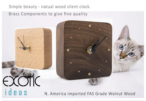 Simple Beauty - Natual Wood Silent Clock. Walnut, Beech Wood with Brass Inlayed.