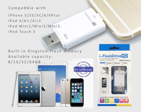 New i-FlashDrive U Disk Storage Memory Stick for  iPhone,iPad– No Jailbreak. Kingston 16GB/32GB/64GB