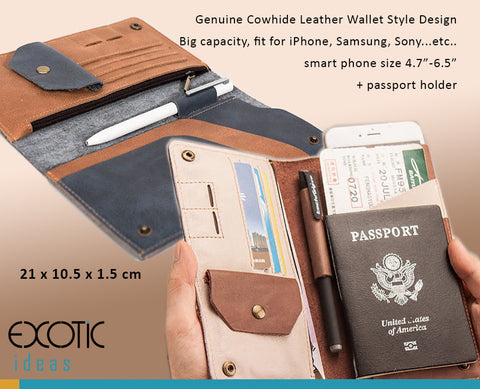 "Genuine Leather Wallet Style cases for iPhone 6/6S/7/8 Plus, Fits to Smart Phones 4.7""-6.5"" + Passport Holder"
