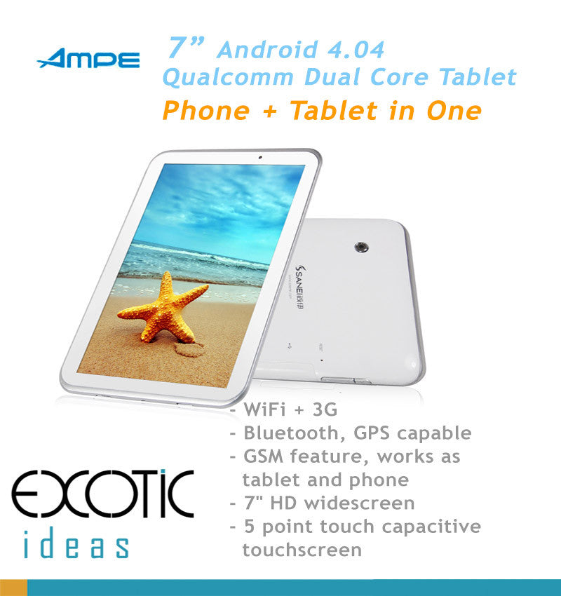 "Qualcomm Dual Core Andriod 4.0.4 7"" Tablet, 3G, WiFi, Bluetooth, GSM Phone, GPS, Skype, 3D Games"