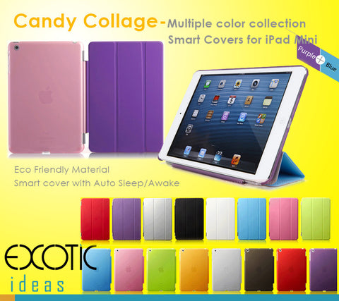 Canday Collage - Multiple colors collection smart covers / cases / sleeve bags  for iPad Mini - Auto sleep / awake feature