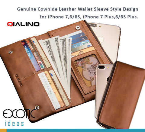 Genuine Cowhide Leather Multiple Function Wallet for iPhone X, iPhone 8/7,6/6S, iPhone 8 Plus, 7 Plus, 6/6S Plus.