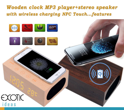 Wooden clock MP3 player+stereo speaker with QI wireless charging NFC Touch...features