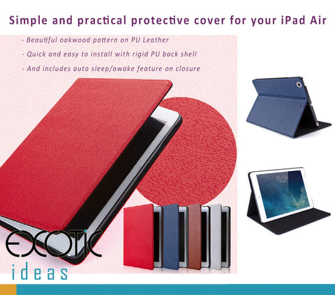 mooke  Oakwood Pattern PU Leather Cases for iPad Air  - Auto Sleep/Awake Feature