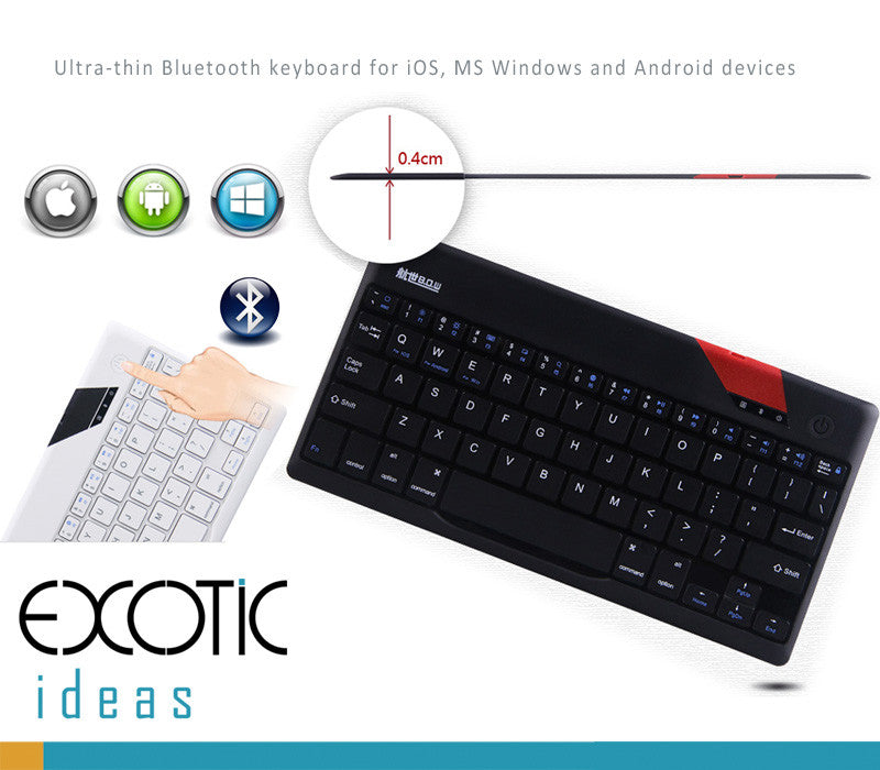 "BOW Bluetooth 3.0 Ultra Thin (4 mm) Keyboard for Apple iOS, Windows OS and Android 4.0 or above, firt to 9"" and 10.1"" Tablets"