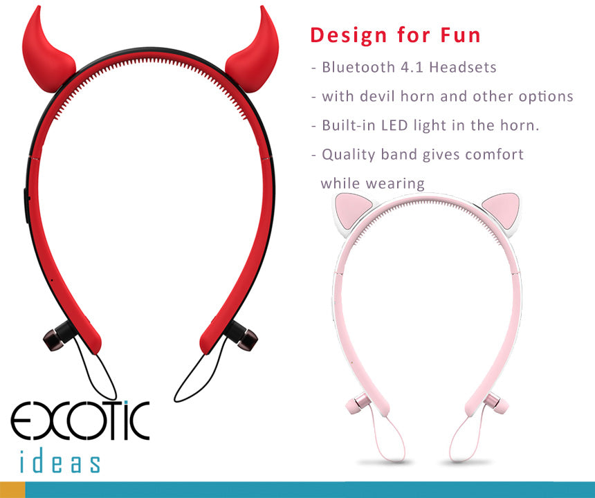 Cute Devil horn hair band dual pairing Bluetooth headsets, headphones with audio hints, CVC 6.0 noise reduction. Also available for Deer horns.