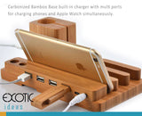 Carbonized bamboo base built-in charger with muiltiple ports for charging Appe Watch, Smartphones, tablets simultaneously.