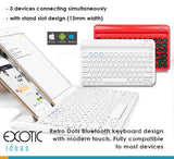 Retro Dots Bluetooth Keyboard, 3 Bluetooth Connections, Compatible to Android, ISO, Windows. With stand slot design