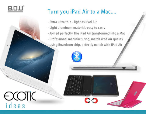 Slim Aluminum Cover with Bluetooth high quality keyboard for iPad Air - Turn your iPad Air to a Mac