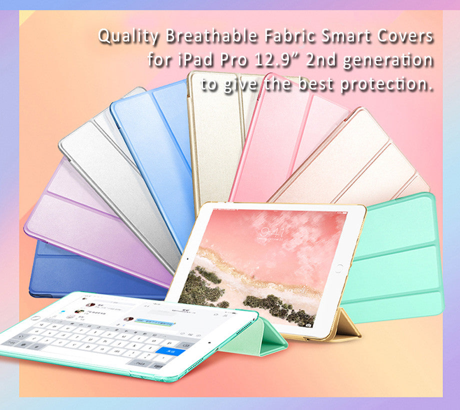 "Quality Breathable Fabric Smart Covers  for iPad Pro 12.9"" 2nd generationto give the best protection."