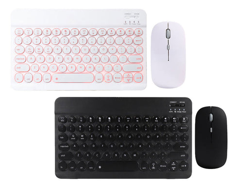 "Illuminating 7 Colors Backlit Bluetooth keyboard 10"" and 12.9"" for iOS, Android, Windows System + Optical Mouse Set"