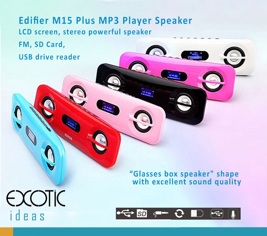 "Edifier M15 Plus, MP3 Player, FM, LCD Display -""Glasses box speaker"" shape  with excellent sound quality. Play music from SDHC Card and USB thumb drive"