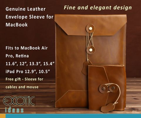 "Genuine Leather Envelope Sleeve for MacBook Air, Pro, Retina 11.6"",12"",13.3"",15.4"", iPad 12.9"", iPad 10.5""- Portrait - Free gift - Sleeve for cables and mouse - Brown Version"