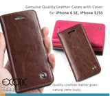 Genuine Quality Leather Cases with Cover for iPhone 6 SE, 5/5S, with Tempered Glass Film