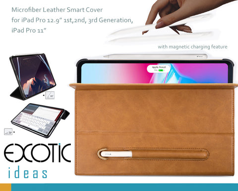 "Micro Fiber Leather Smart Cover for iPad Pro 11"", 12.9"" 1st, 2nd and 3rd Gen - with Stylus Pen Holder and Magnetic Charging"