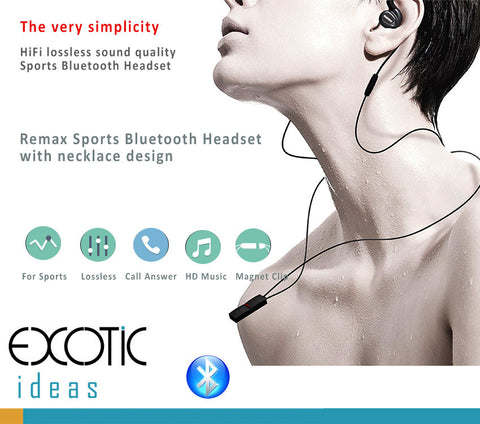 Remax Sports Bluetooth Headsets with necklace design, Hi-Fi Lossless Sound. New Style for Sports