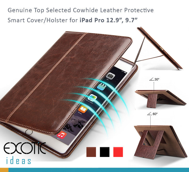 Genuine Top Selected Cowhide Leather Smart Cover / Holster for iPad Pro 9.7""