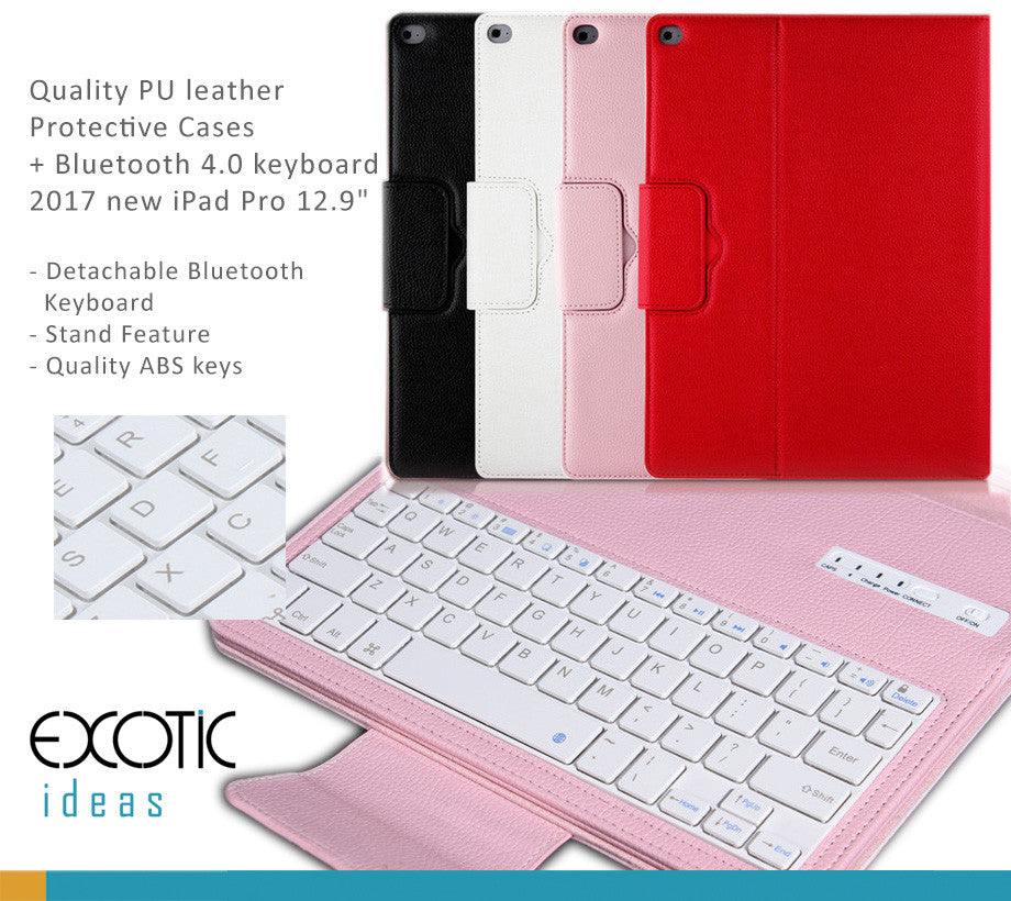 Quality PU leather  Protective Cases with detachable Bluetooth 4.0 keyboard for 2017 new iPad Pro 12.9""