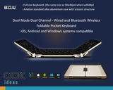 Dual Channel Dual Mode Wired and Wireless Bluetooth 3.0 Keyboard Compact foldable design, High Quality. Aviation Standard Aluminum Case and Scissor Keys, Fits to Apple iOS, Windows OS and Android 4.0 or above