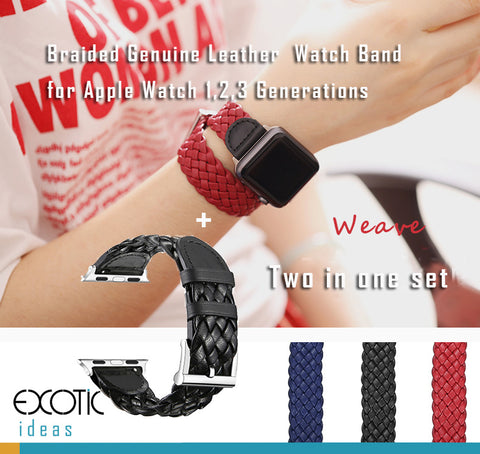 Braided Genuine Leather Watch Bands /Straps for Apple Watch 1,2,3,4.  Single Loop, Double Loop Strap 2 bands in One Set