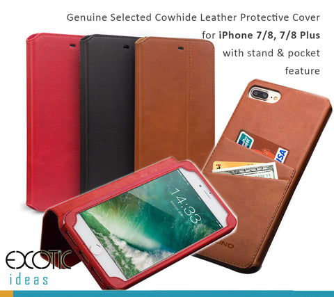 Genuine Selected Cowhide Leather Protective Cover  for iPhone X  with stand and pocket features