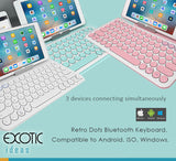 Retro Dots Bluetooth Keyboard, 3 Bluetooth Connections, Compatible to Android, ISO, Windows.