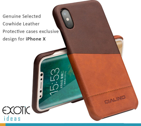 Genuine Selected Calfskin Leather Protective Cases Exclusive Design for iPhone X, Free Gift -Tempered Glass Film